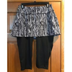 Skirt Sports Brand Skirted Pants Crops Black White